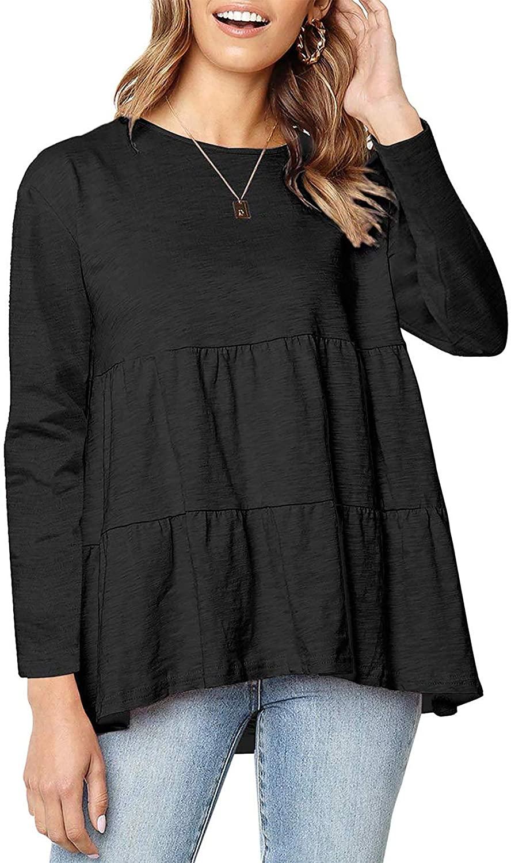 Oyamiki Women's Loose T Shirt Round Neck High Low Ruffle Hem Babydoll Peplum Tops