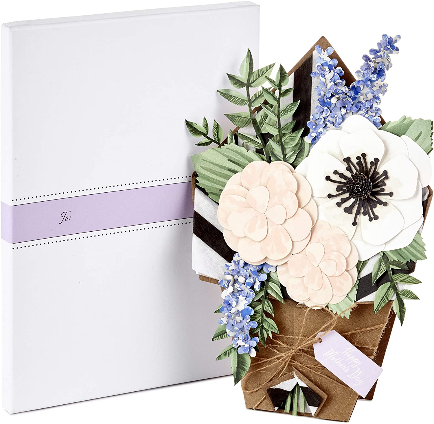 Hallmark Signature Paper Craft Flowers Displayable Bouquet Mothers Day Card for Mom (1499MBC1027)