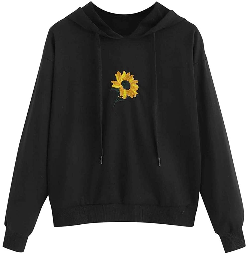 Soluo Button Down shirtsWomen Sweatshirt Long Sleeve Pullover Sunflower Embroider HoodieTunic Top Blouse(Black,S)