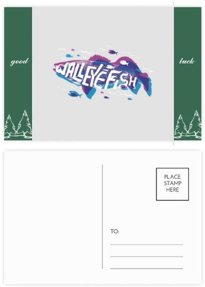 Blue Purple Cartoon Fish Ocean Animal Good Luck Postcard Set Card Mailing Side 20pcs