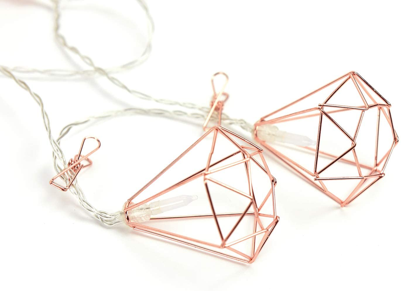 WallPops WPLT3266 Rose Gold Diamond Clips String Lights, Pink