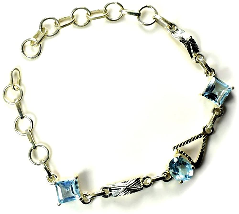 Jewelryonclick Real Mixed Shape Blue Topaz Healing Jewelry Bracelet Sterling Silver Handmade L 6.5-8 in