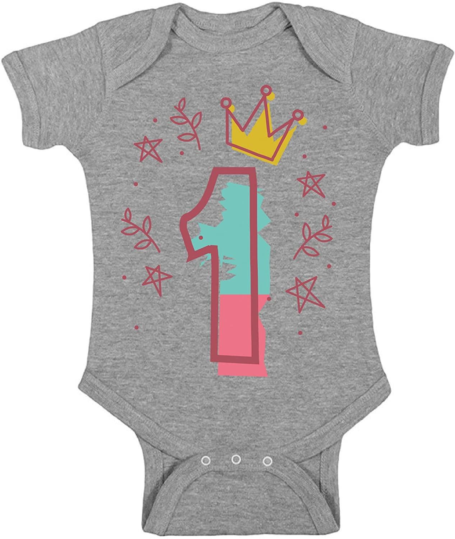 Awkward Styles 1st Birthday Baby Bodysuit I'm One Cute Crown Pink Romper