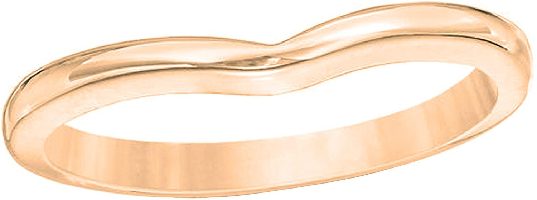 Dazzlingrock Collection Ladies Anniversary Contour Wedding Stackable Guard Chevron Plain Band, 14K Gold