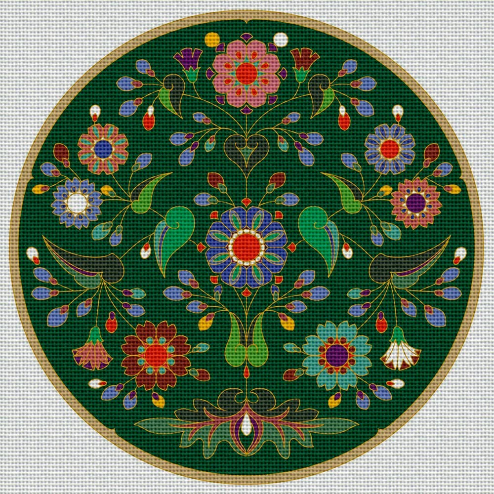 Art Needlepoint Green Floral Coaster or Ornament Needlepoint Kit