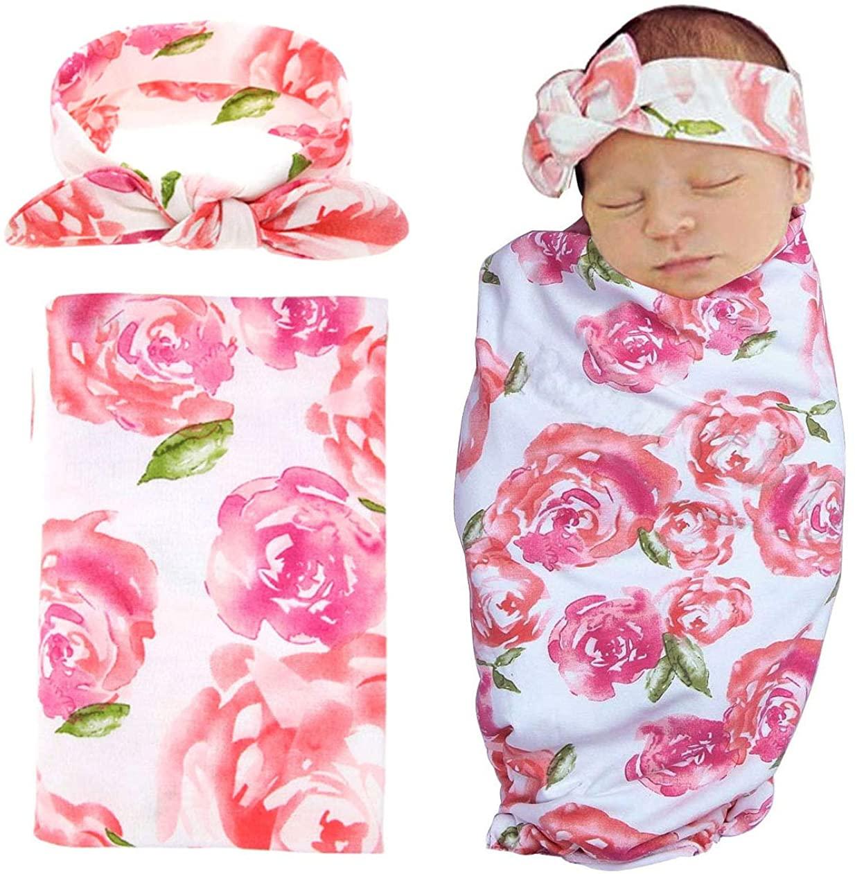 Swaddle Sack,Newborn Baby Boys Girls Sleep Blanket with Bow Headband Set Infants Receiving Blankets