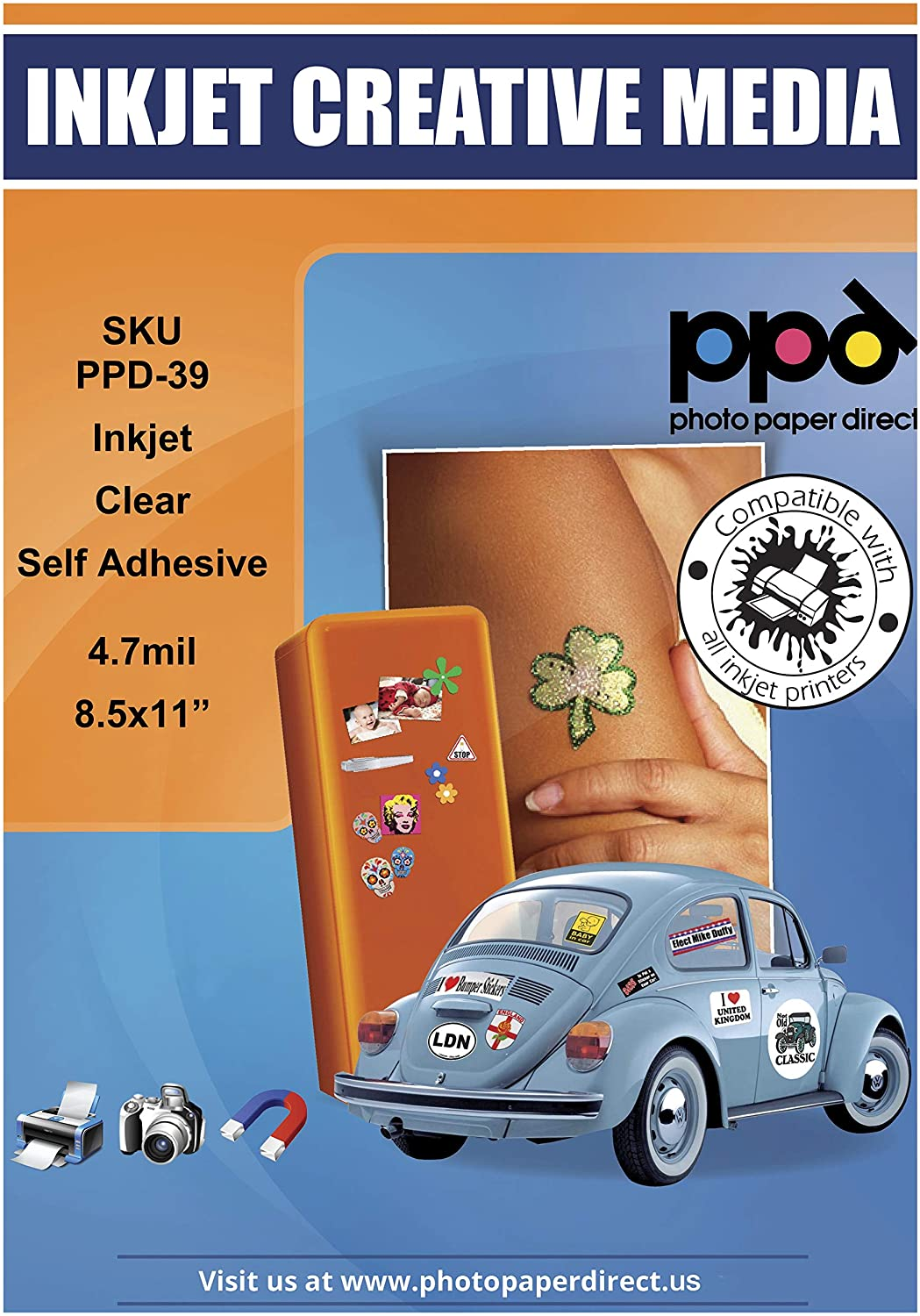 PPD Inkjet Clear Creative Self Adhesive Sticker LTR 8.5 x 11 Inch PPD-39-50