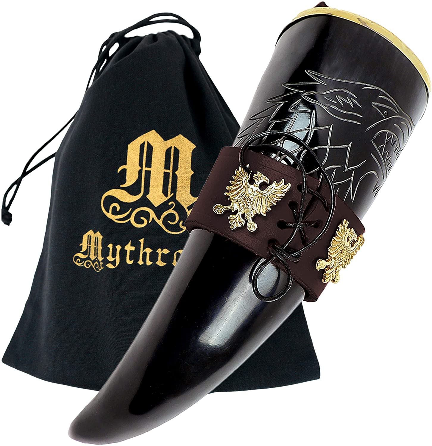 Mythrojan THE KING OF THE NORTH - Viking Drinking Horn with Brown Leather holder Authentic Medieval Inspired Viking Wine/Mead Mug – Polished Finish
