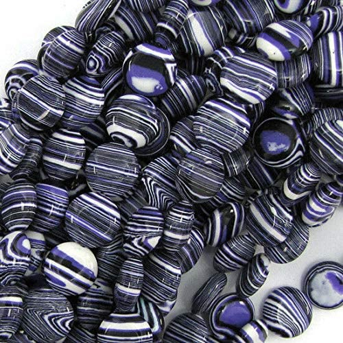 USA Stock - Handmade Beads 12mm Purple Rainbow Calsilica Coin Beads 16
