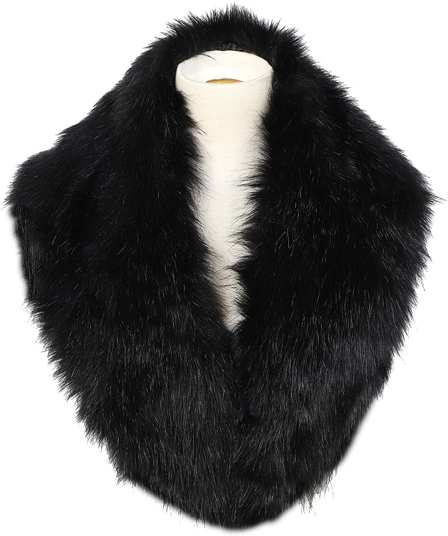 La Carrie Women's Faux Fur Collar Scarf Wrap Cold Winter Warmer