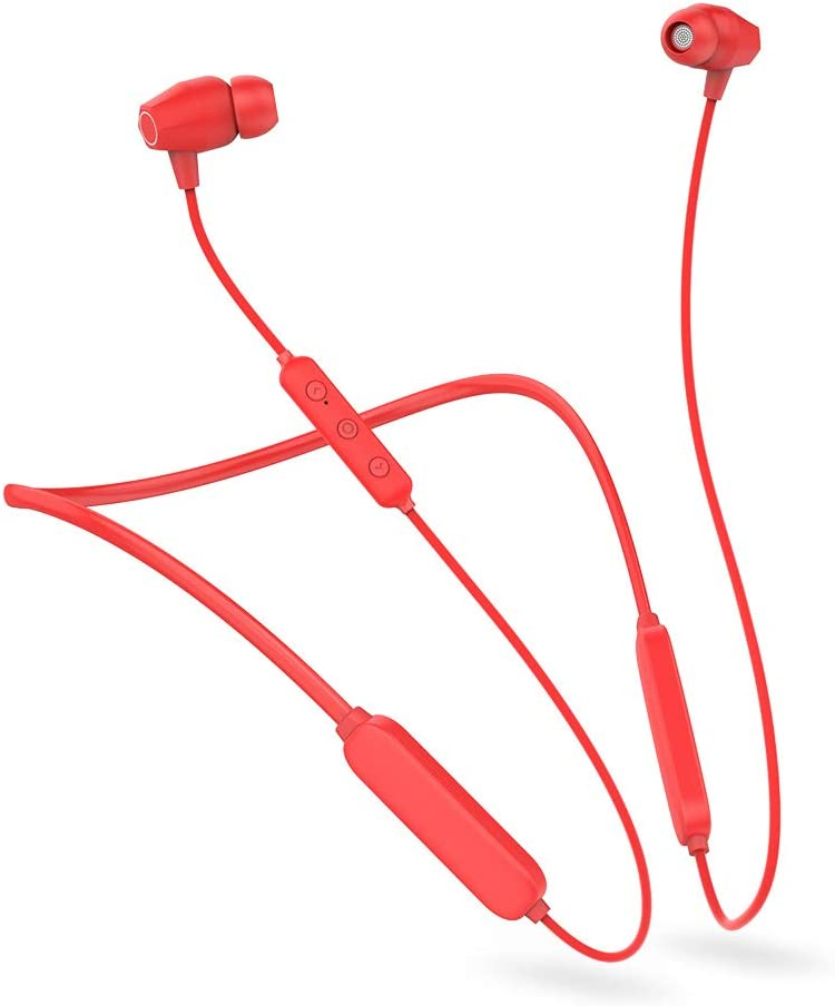 Bluetooth Headphones,Neckband Headset,Magnetic Earphones with Mic HD Stereo,15 Hours Play Time for Cellphone (RED)