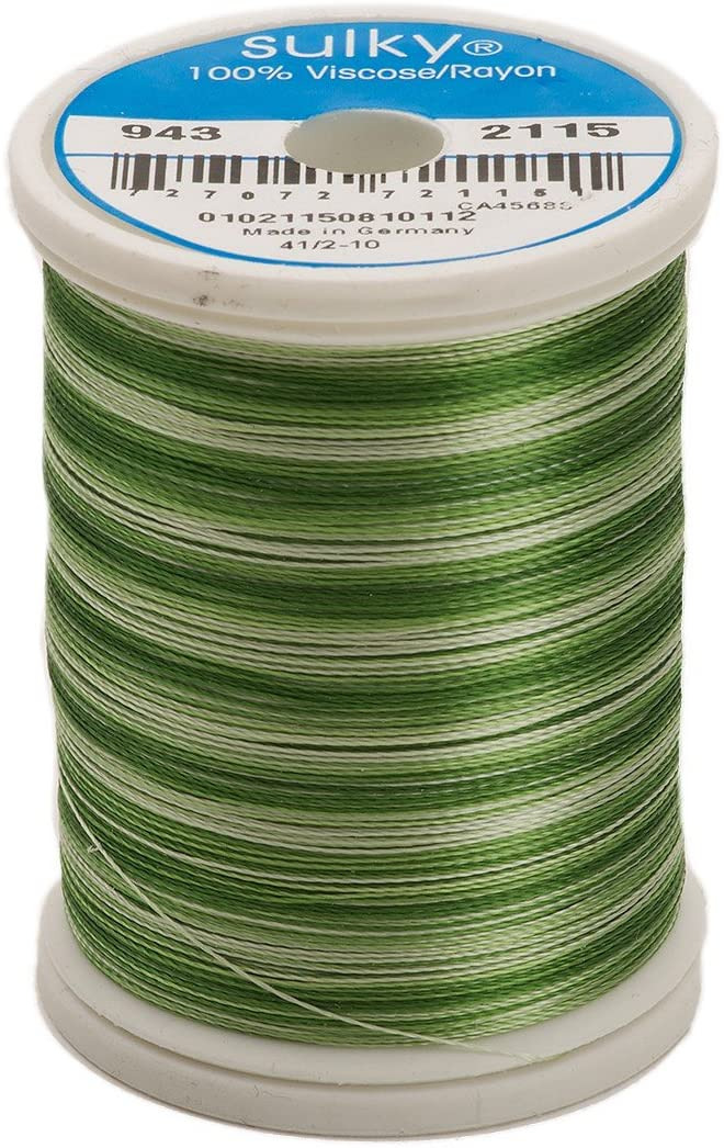 Sulky Of America 268d 40wt 2-Ply Variegated Rayon Thread, 850 yd, Pine Green
