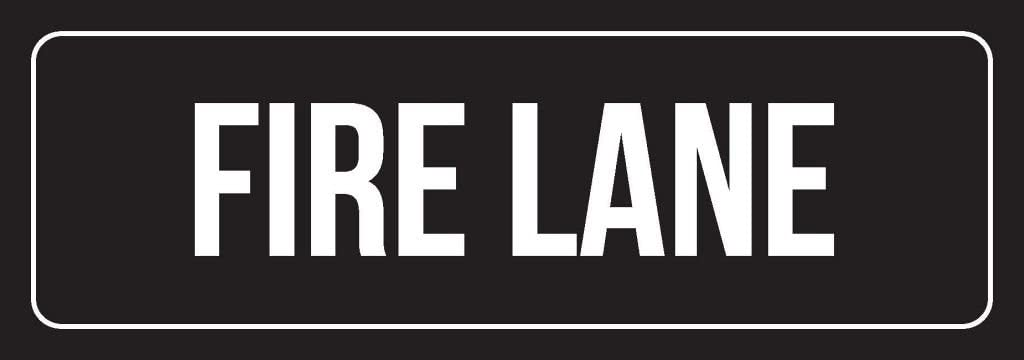 iCandy Combat Black Background with White Font Fire Lane Office Metal Wall Sign - 6 Pack, 3x9 Inch