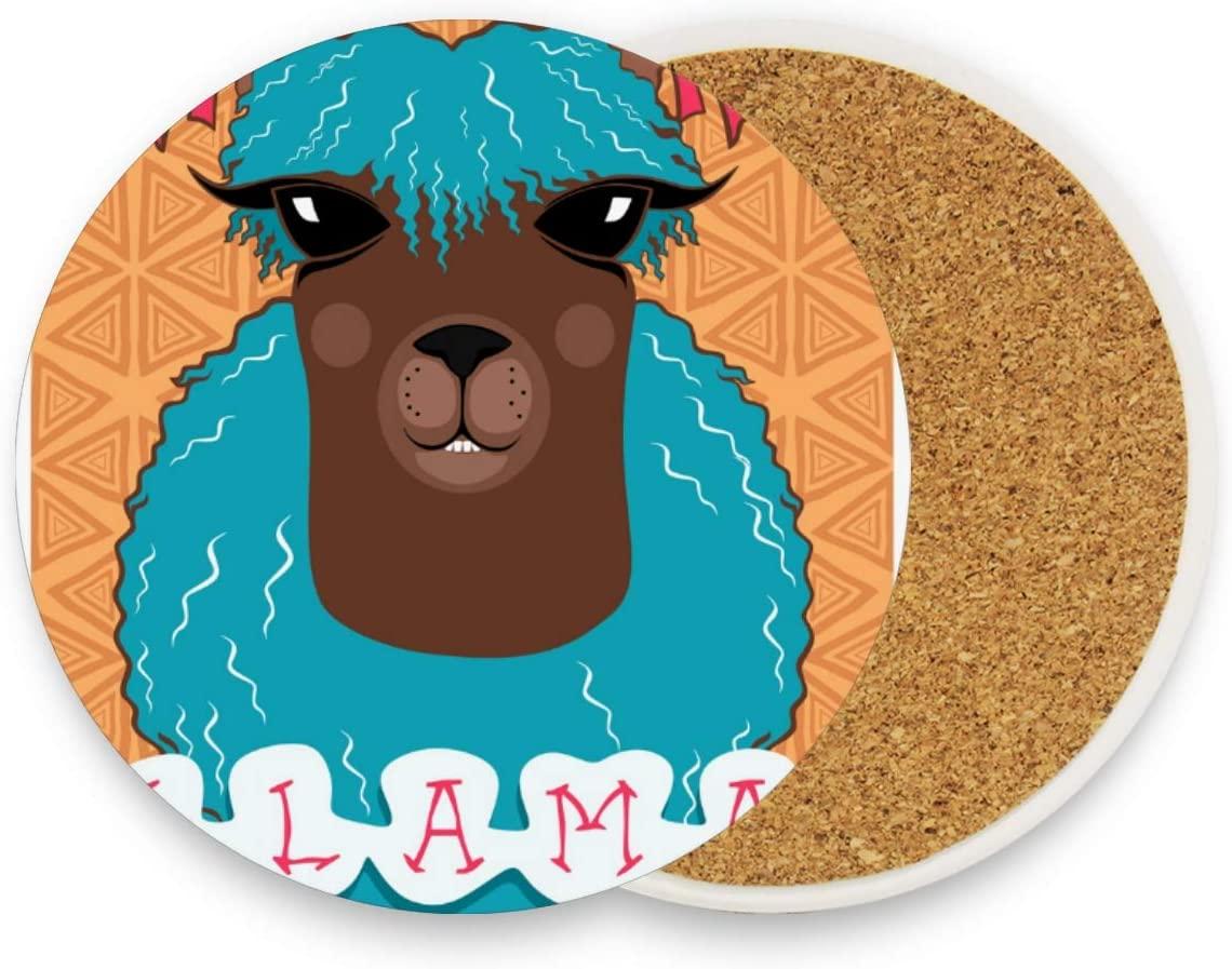 Coasters for Drinks Funny Portrait Llama Round Coaster Set