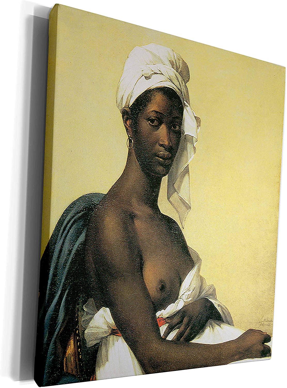 3dRose BLN Beautfiul Nudes Fine Art Collection - Portrait of a Negress by Marie-Builleine Benoist - Museum Grade Canvas Wrap (cw_127962_1)