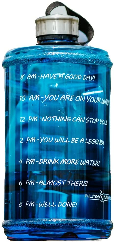 NutraMotion Sports Water Bottle | Large 2 Liter Bottle (Blue: With Time Markings)