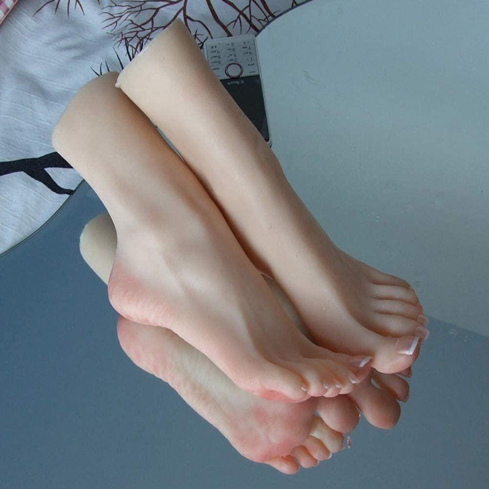 LAMZ Silicone Female Mannequin Leg Foot Fetish 1 Pair Soft Display Art Sketch Foot 0829 (Color : Onepair)