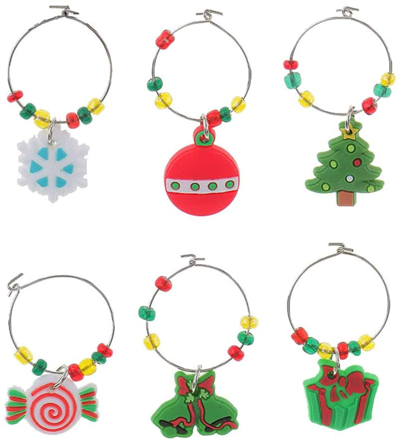BESTONZON 6 Pcs Christmas Themed Wine Glass Charms/Drink Markers/Wine Glass Tags,for Christmas Party Favors Decoration Dinner Personalized Marked