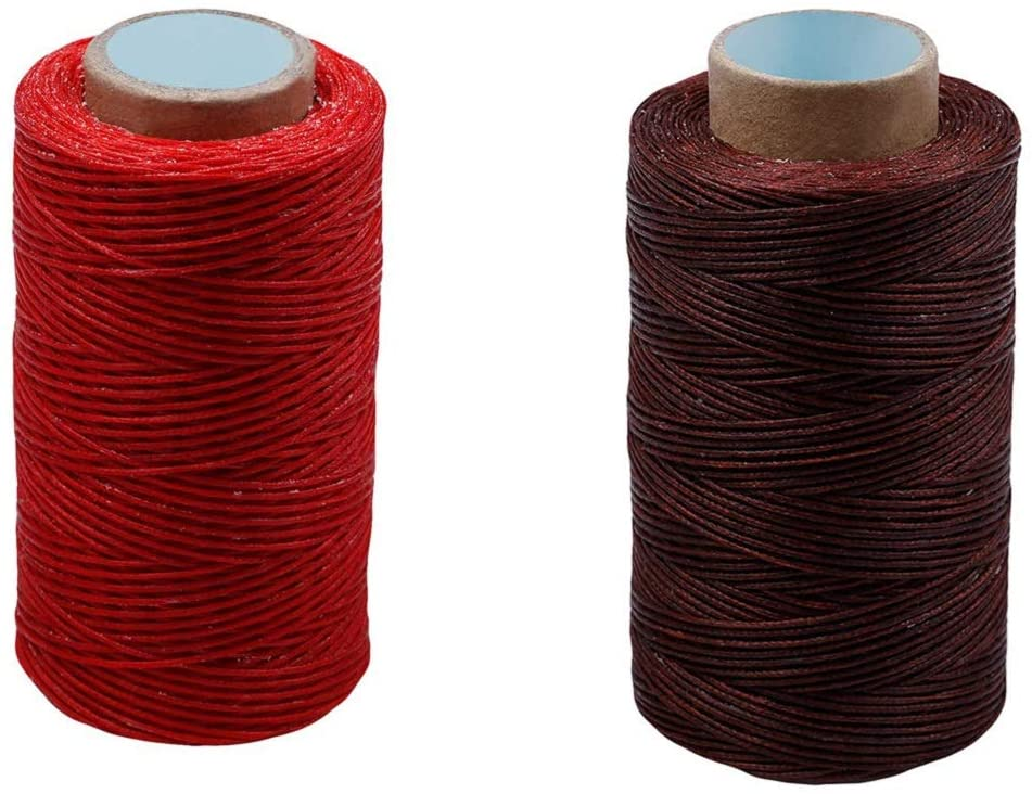 Dtacke 2 pcs 218 YD Leather Sewing Waxed Thread Cord 150D Luggage Wallet Waxed Thread Cord Dream Catcher Supplies Hand Stitching Sewing Thread Hand Stitching Cord for Leather (Deep Red& Red)