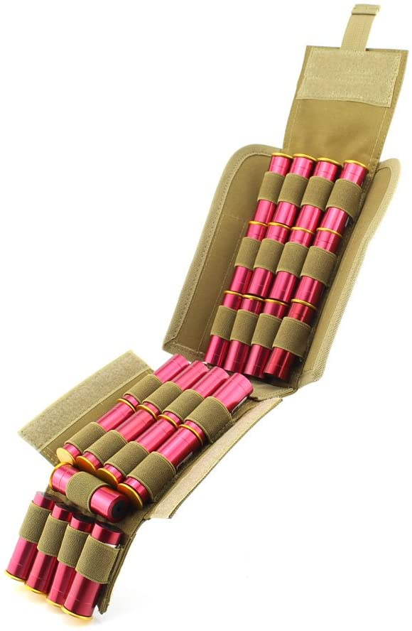 Depring MOLLE Tactical 25 Rounds Shotshell Pouch Holder Compact Foldable Shotgun Reload Ammo Mag Bag Quick Access Shotgun Shell Carrier