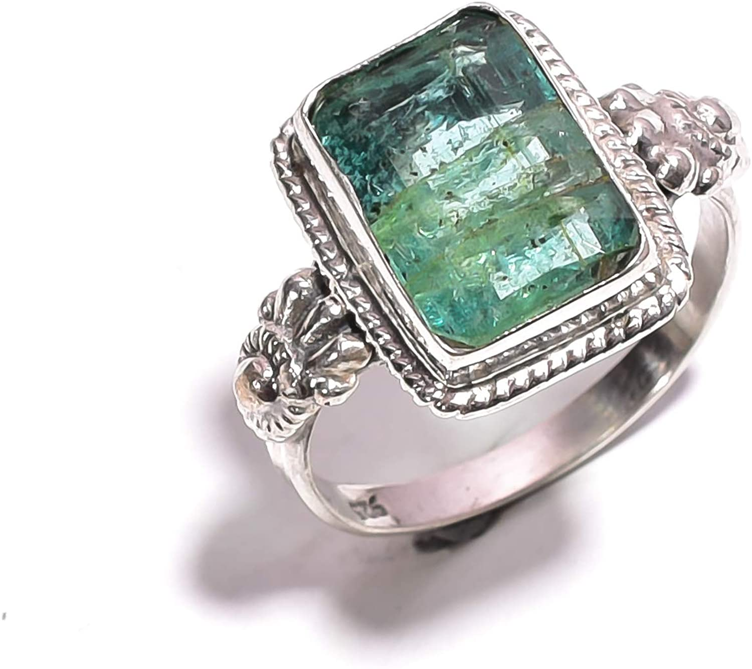 mughal gems & jewellery 925 Sterling Silver Ring Natural Green Aventurine Gemstone Fine Jewelry Ring for All Type of Ladies (7 US Size)