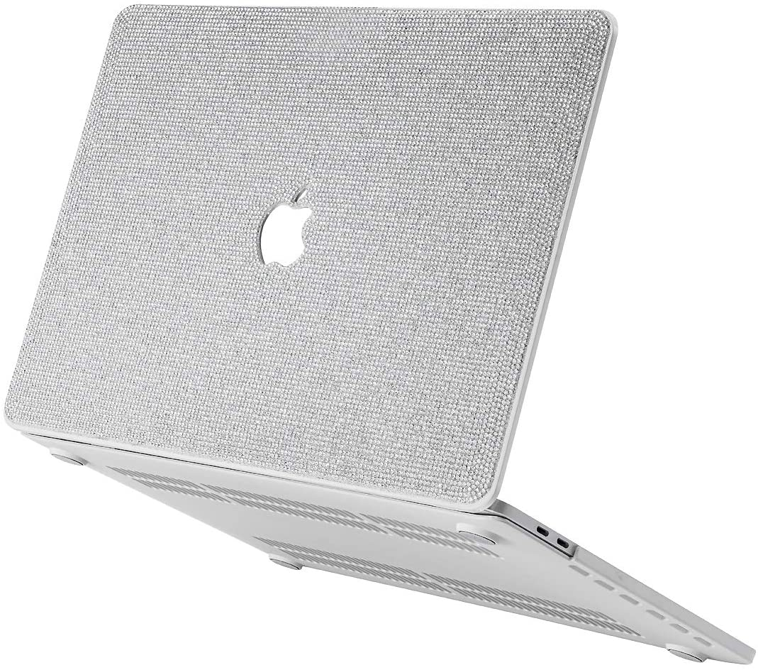 Luxurious Rhinestone Bling MacBook Case Compatible with 2018-2020 MacBook Air 13 inch A2179 A1932, MacBook Pro 13 inch Case 2016-2019 A2159 A1989 A1706 A1708 (MacBook Pro 13 inch, White+White Base)