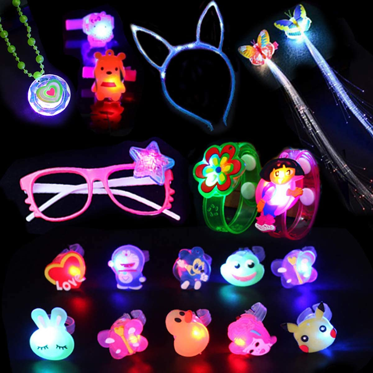 19Pcs LED Light Up Toy Party Favors Glow In The Dark,Party Supplies Bulk For Adult Kids Birthday Halloween With 10 Finger Light, 1 Flashing Glasses, 2 Bracelet, 2 Fiber Optic Hair Light,1 Cat Ear Headwear,1 flashing Necklaces,2 Hair Clip(Random style)