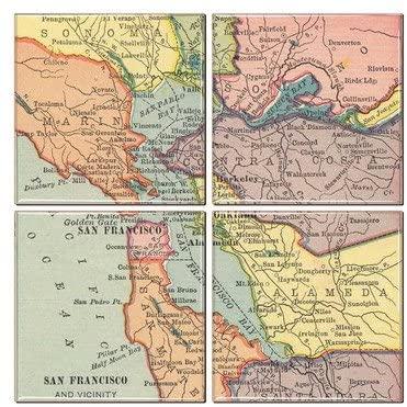 San Francisco Coaster of Vintage Map (Set of 4)