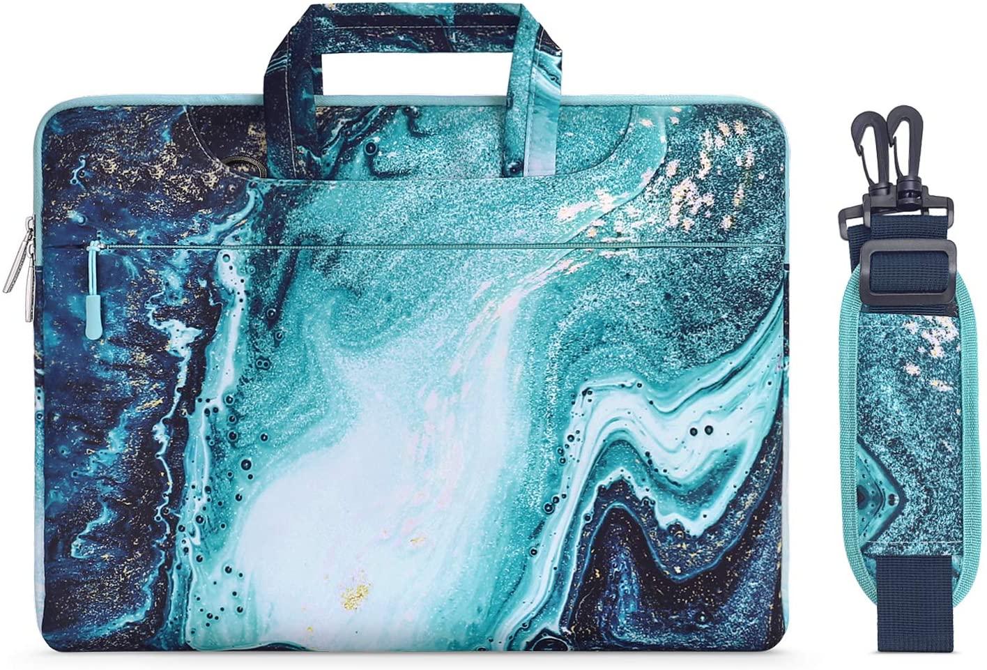 MOSISO Laptop Shoulder Bag Compatible with 13-13.3 inch MacBook Pro, MacBook Air, Notebook Computer, Creative Wave Marble Carrying Briefcase Handbag Sleeve Case