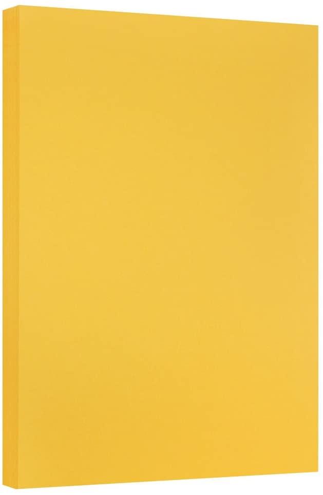 JAM PAPER Vellum Bristol 67lb Cardstock - 11 x 17 Ledger Size Coverstock - Goldenrod - 50 Tabloid Sheets/Pack