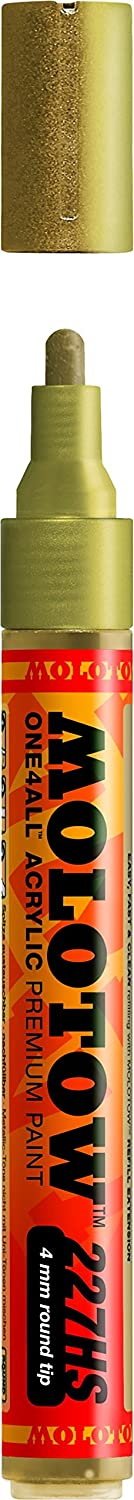 Molotow ONE4ALL Acrylic Paint Marker, 4mm, Metallic Gold, 1 Each (227.306)