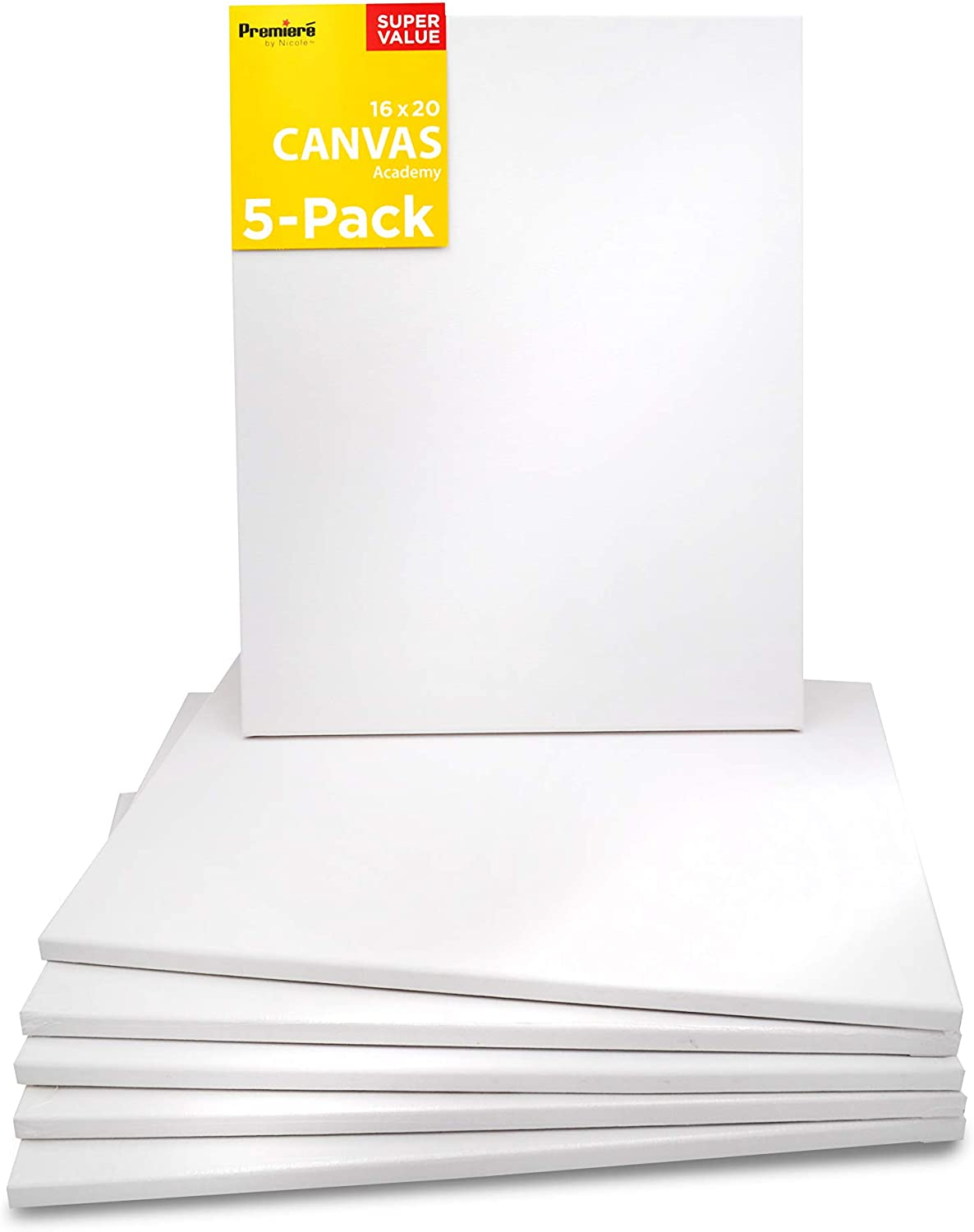 5 Pack Stretched Canvas for Painting, 16x20 | Bulk Value Pack Plain White Rectangular Canvases | Triple Acrylic Gesso Primed | Art Supplies for Acrylics, Oil Painting, DIY Wall Décor