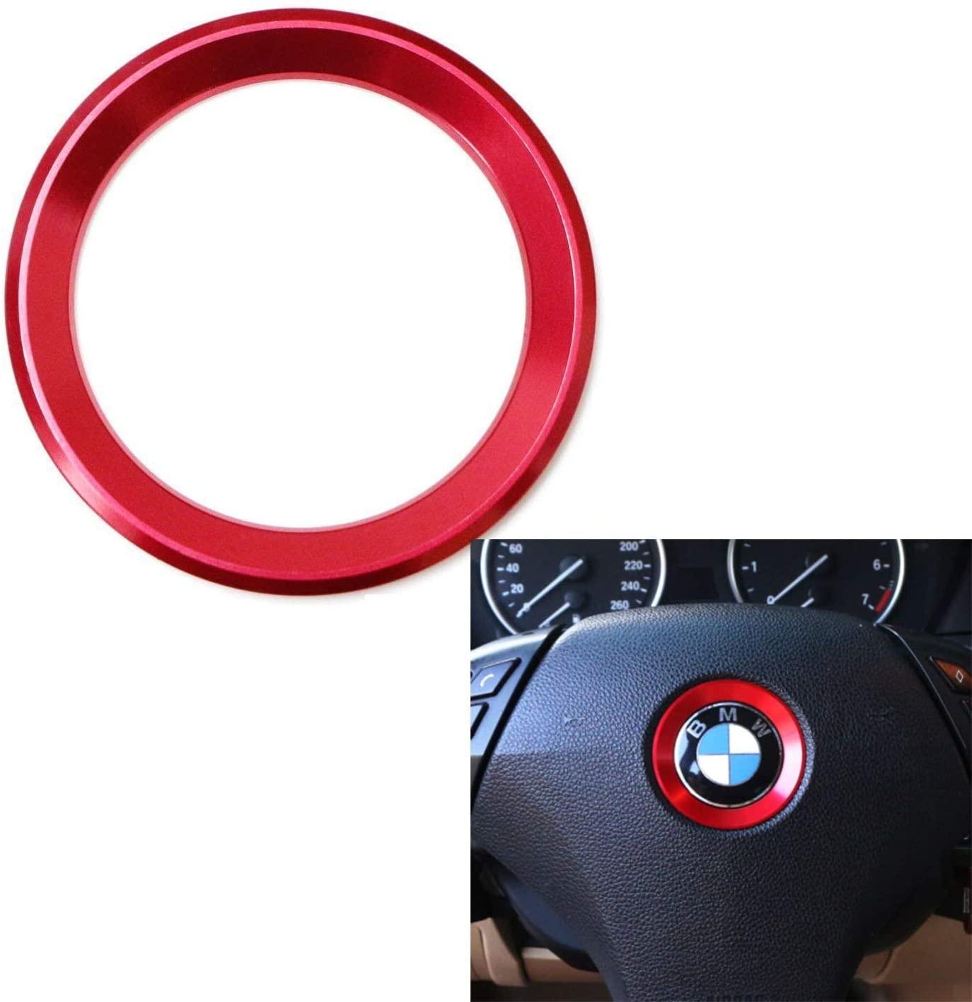 DEMILLO Aluminum Steering Wheel Center Decoration Cover Trim For BMW 1 2 3 4 5 6 Series X4 X 5 X6 (F20 F21 F22 F23 F30 F31 F32 F33 F35 F36 F10 F11 F12 F13 F26 F15 F16) (red)