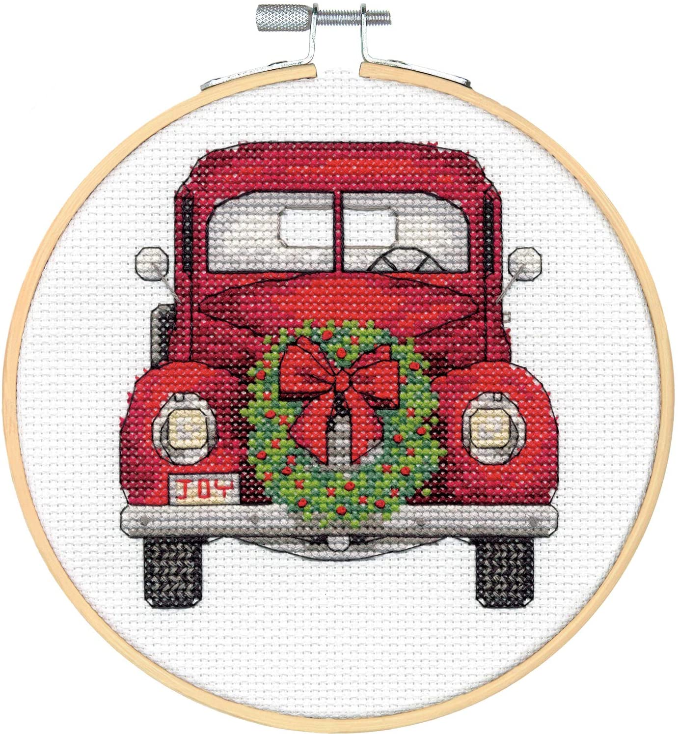 Dimensions Kit, Vintage Truck Christmas Cross Stitch, White 14 Count Aida, 6'' Embroidery Hoop