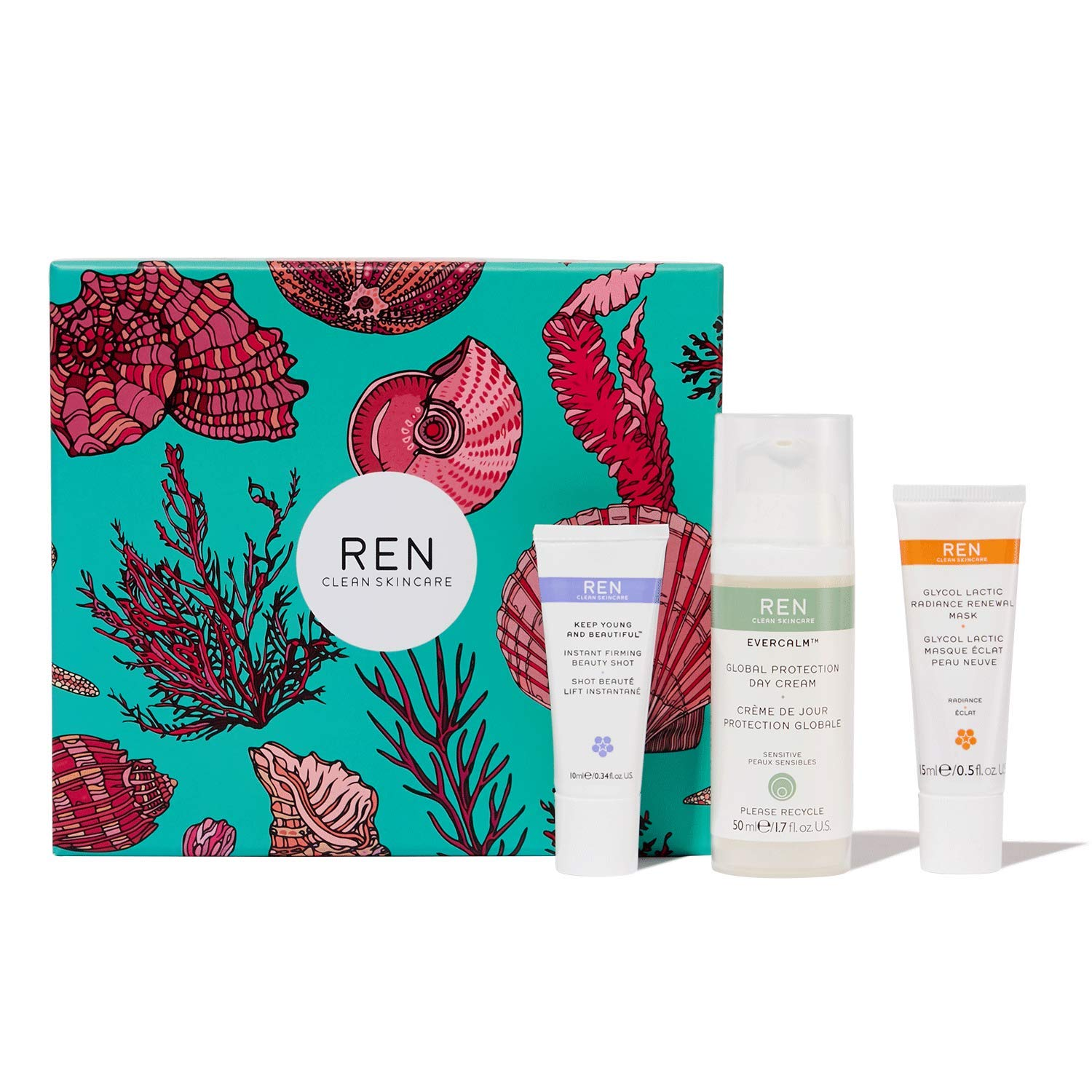 REN Clean Skincare Evercalm Face Favorites Gift Set ($86 Value) Evercalm Global Protection Day Cream + Glycol Lactic Radiance Renewal Mask And Keep Young & Beautiful Instant Firming Beauty Shot