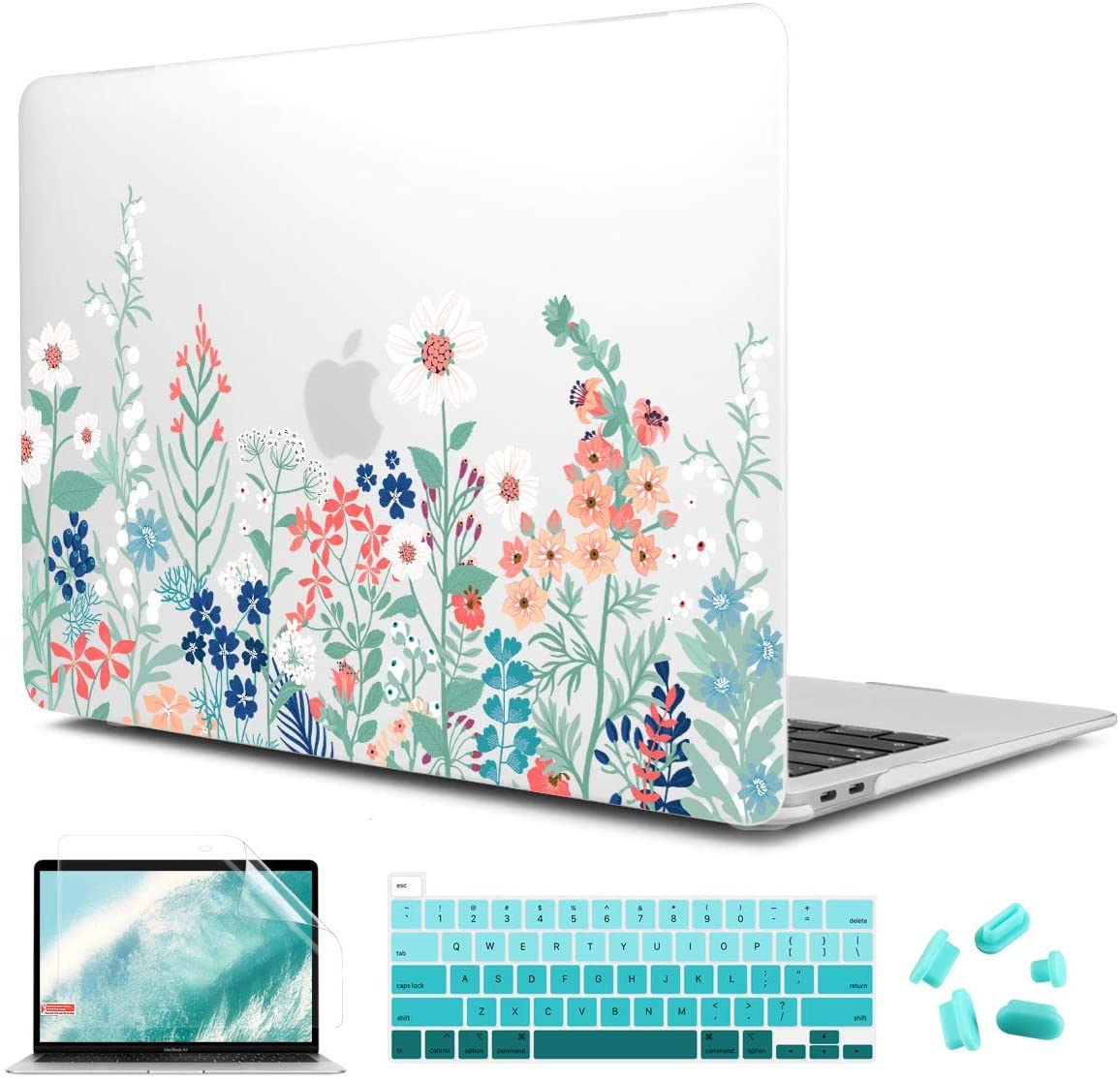 CiSoo Matte Frosted Hard Shell Case for New MacBook Pro 13 inch 2020 Release Model A2251 A2289 with Touch Bar and Touch ID,Plastic Flower Pattern Hard Cover with Keyboard Cover&Screen Protector