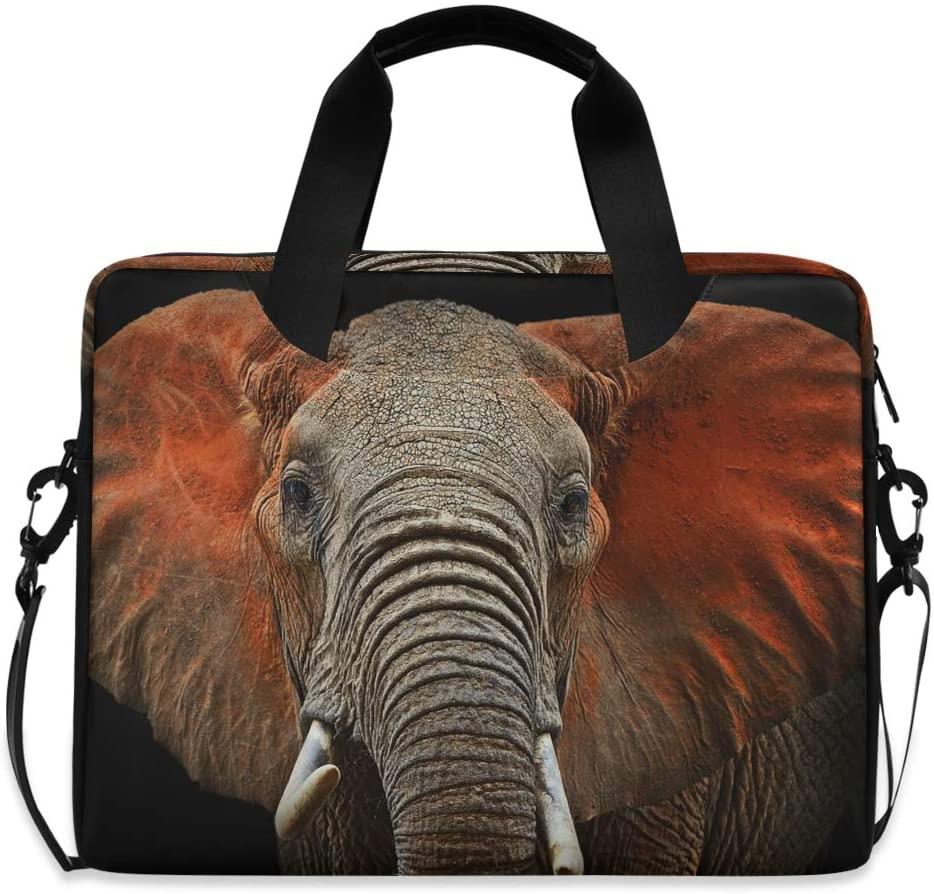 ALAZA African Elephant Animal Print Laptop Case Bag Sleeve Portable Crossbody Messenger Briefcase w/Strap Handle, 15-17 inch