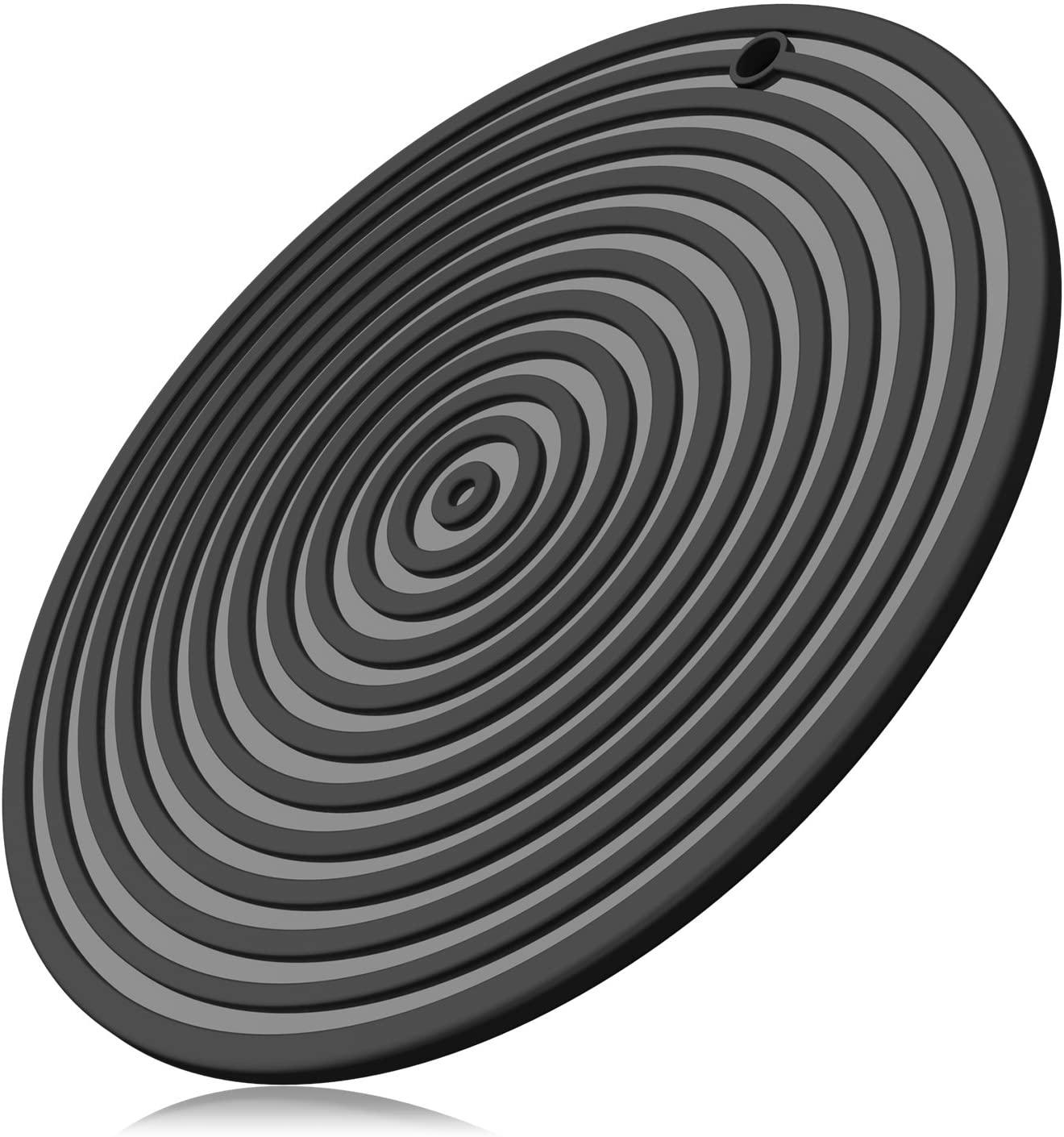 ME.FAN 11'' Large Silicone Ripple Trivet Mat, Potholder, Hot Pad, Spoon Rest, Jar Opener & Coaster, Heat Resistant up to 480F, Flexible, Durable & Non Slip (Black)