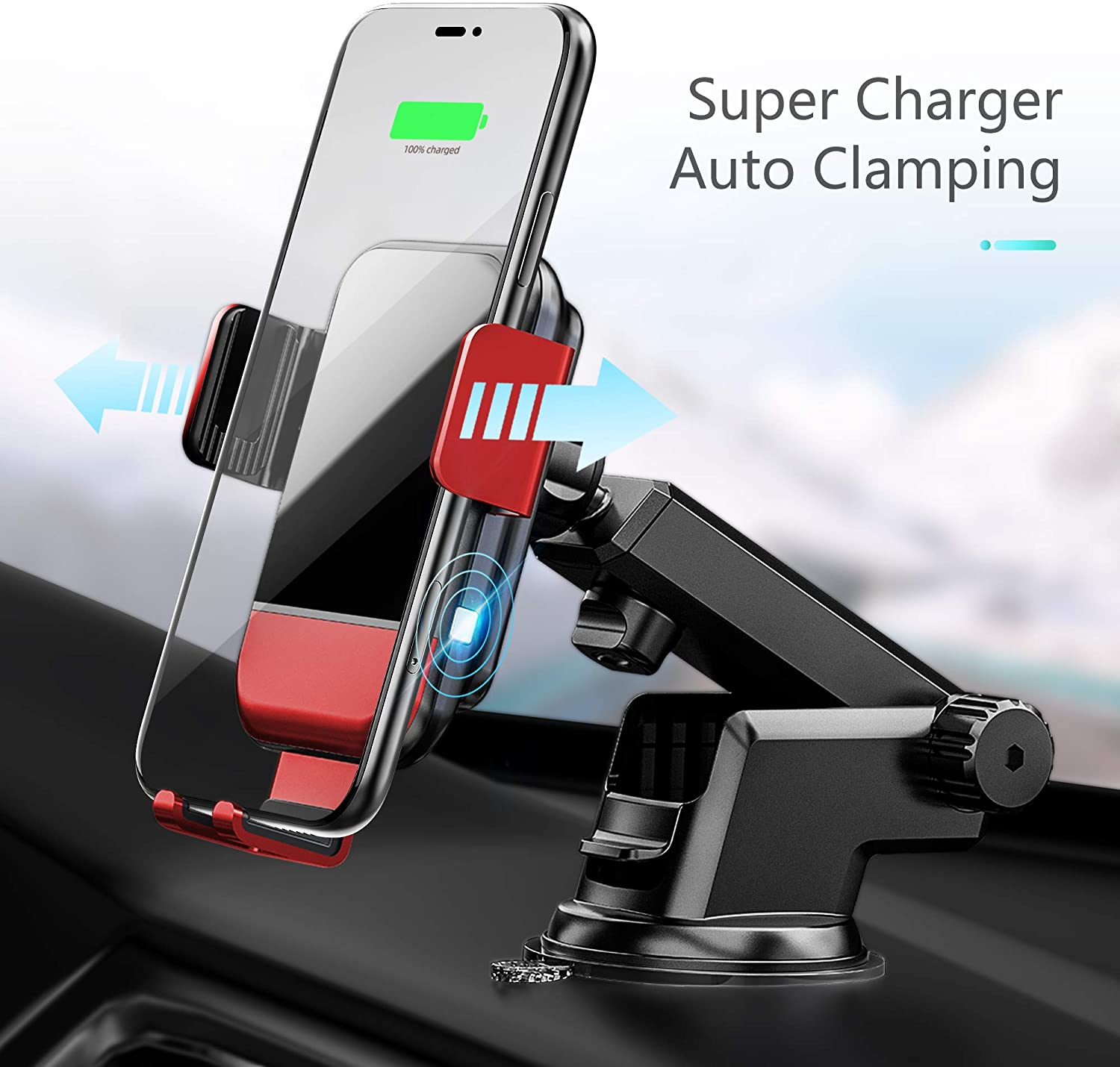 VVCAR Wireless Car Charger,15W Qi Fast Charging Car Mount Charger Auto-Clamping Air Vent Phone Holder Compatible with iPhone 11/11Pro/11Pro Max/Xs Max/XS/XR/X/8/8+, Samsung S10/S10+/S9/S9+/S8/S8+,Suc