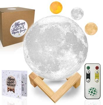 Moon Lamp with Timer with Colors - Moon Light 3D Moon Lamp - Seamless - Moon Night Light with Stand - Mood, Globe, Cool Lamp, Gift, with Wooden Stand, Gift Box, Moonlight LED (6.8 inch)