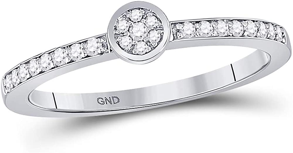 Dazzlingrock Collection 10kt White Gold Womens Round Diamond Cluster Ring 1/6 ctw