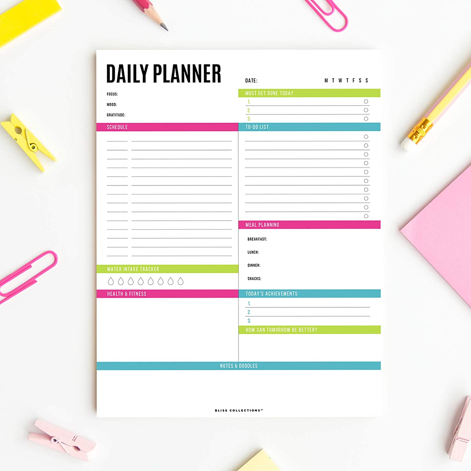 Bliss Collections Daily Planner with 50 Undated 8.5 x 11 Tear-Off Sheets, Vibrant Calendar, Organizer, Scheduler, Productivity Tracker, Meal Prep, Organize Tasks, Goals, Notes, Ideas, To Do Lists