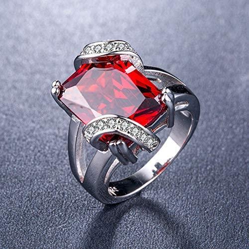 MGZDH Zircon Ring Ring Ladies Zircon Ring Plated 925 Silver Ladies Ring, red, 9