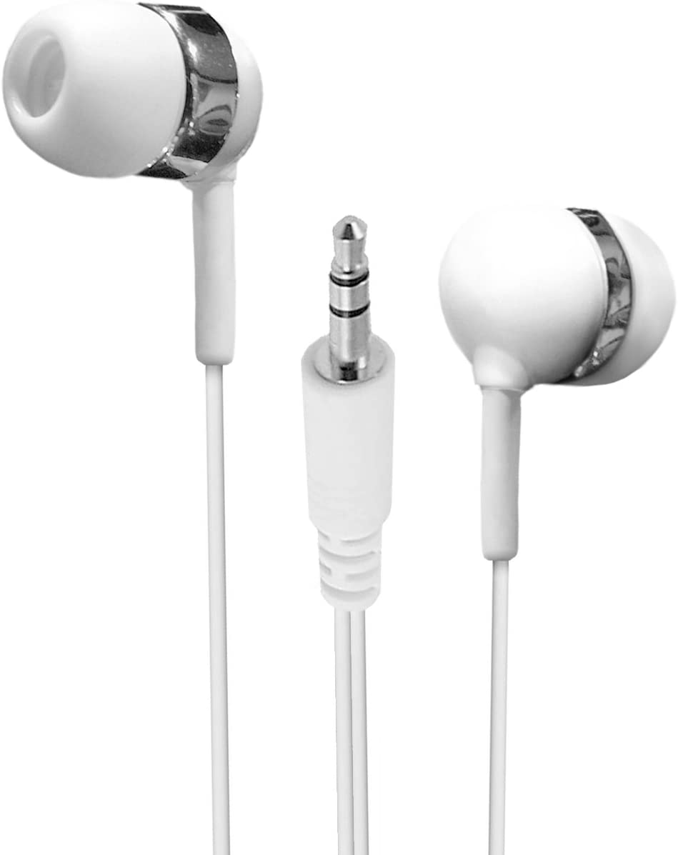Bulk Pack of 25 White in-Ear Earbuds/Earphones with Extra Long Wire and Soft Silicone Tips.