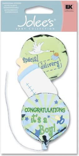 JOLEES Boutique Dimensional Stickers-Boy Mylar Balloons