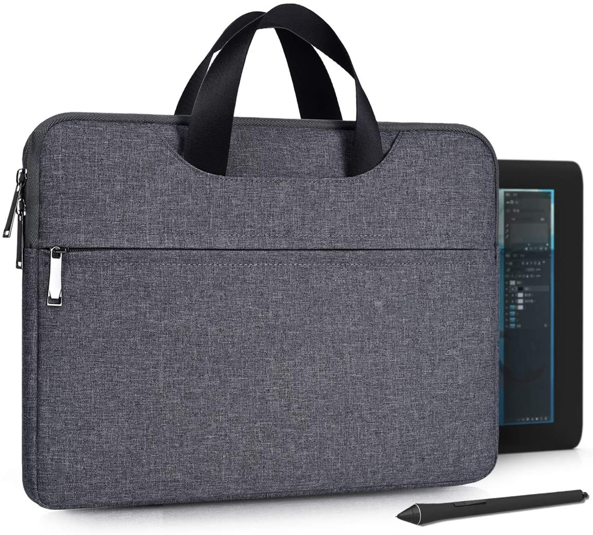 Graphics Drawing Tablet Sleeve Case for Huion KAMVAS Pro 13 GT-133/ Inspiroy H1161/ Inspiroy Q11K, XP-Pen Artist12, UGEE M708, Wacom Cintiq 13HD Bag with Handle (Space Grey)