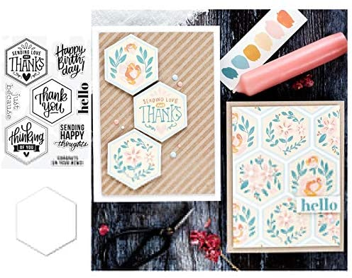 Hexagon Greetings Metal Cutting Dies and Stamps Stencils for DIY Scrapbooking Die Cuts Paper Craft Card Making,Stamps