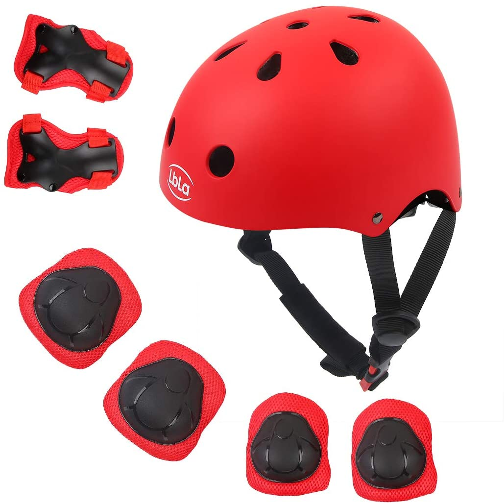LBLA Helmet and Pads for Kids 3-8 Years Toddler Helmet,Kids Bike Skateboard Helmet,Helmet Knee Elbow Wrist for Scooter,7Pcs Adjustable Protective Gear Set for Kids
