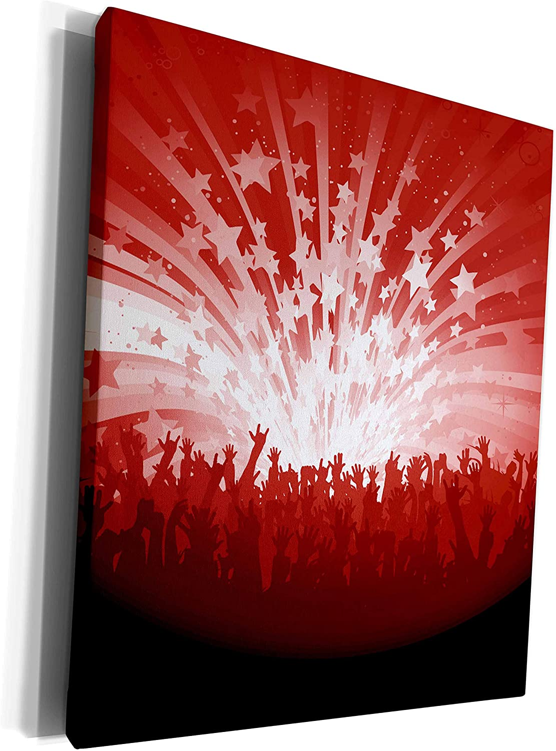 3dRose Anne Marie Baugh - Urban - Concert Hands In The Air and Stars In The Sky In Red and White - Museum Grade Canvas Wrap (cw_235901_1)