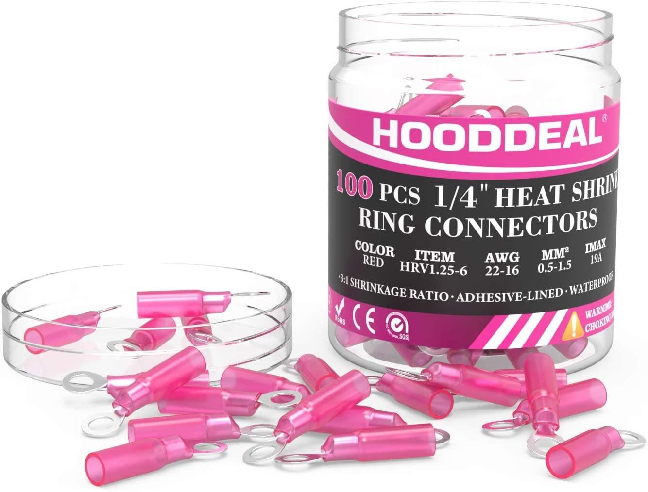 HOODDEAL 100PCS Heat Shrink Ring Crimp Connectors - 1/4